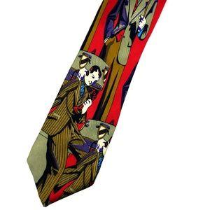 Roaring 20s / Prewar Graphic 100% Silk Tie in EUC